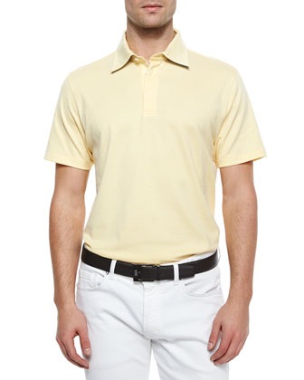Spread Collar Polo Shirt, Yellow