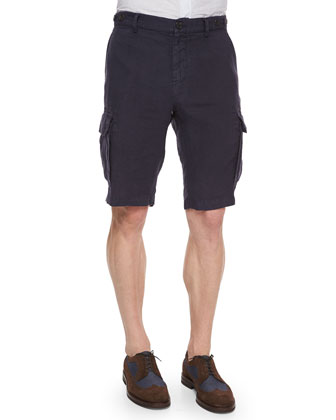 Slim-Fit Woven Cargo Shorts, Blue