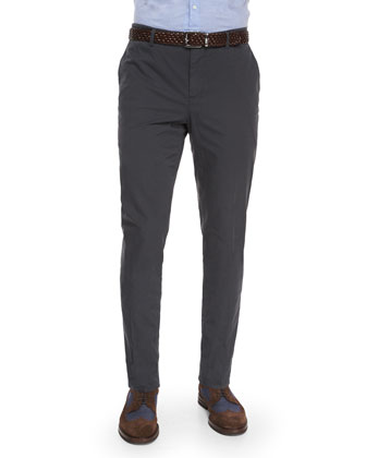 Flat-Front Cotton Pants, Pewter