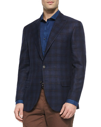 Madras Plaid Sport Jacket, Solid Long-Sleeve Sport Shirt & Flat-Front ...
