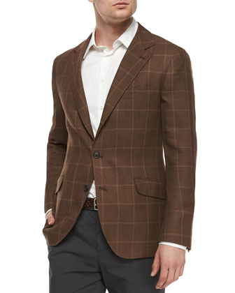 Linen-Blend Windowpane Jacket, Brown