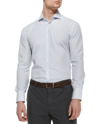 Basic Bicolor Striped Sport Shirt, Blue