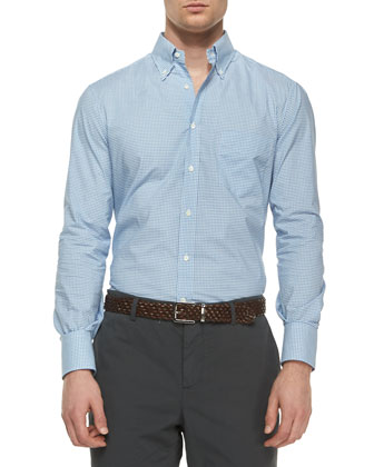 Tattersall Button-Down Shirt, Blue/Navy