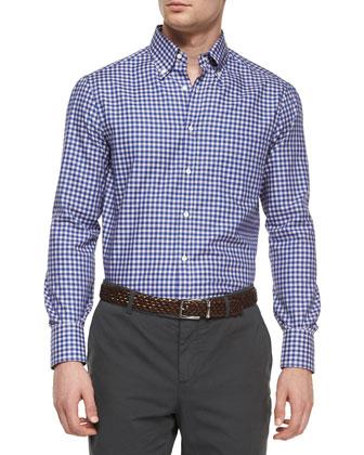 Check Long-Sleeve Sport Shirt, Blue