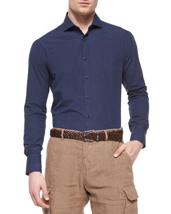 Shawl-Collar Chunky Cardigan, Slim-Fit Solid Poplin Sport Shirt & ...