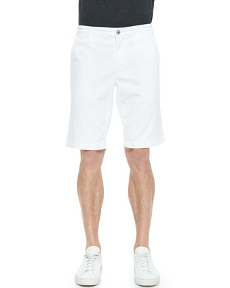 Griffin Flat-Front Cotton Shorts, White