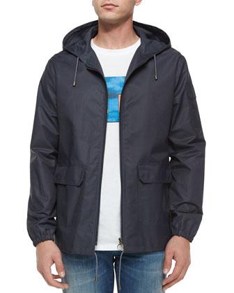 Hooded Tech Windbreaker Jacket, Blue