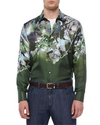 Small Waffle-Knit Crewneck Sweater, Floral-Print Silk Sport Shirt & ...
