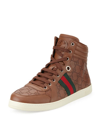 Brown Guccissima Leather High-Top Sneaker