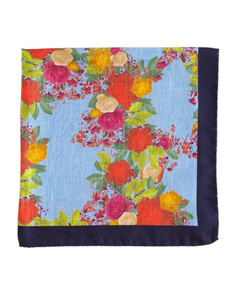 Floral-Print Silk Pocket Square, Blue