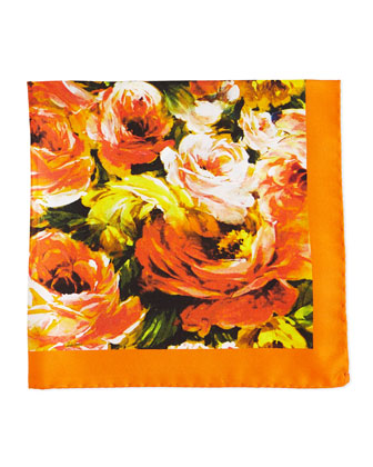 Floral-Print Silk Pocket Square, Orange