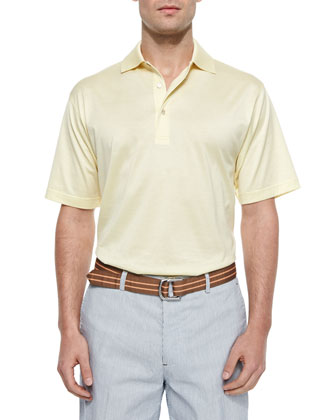 Solid Lisle-Knit Cotton Polo Shirt, Yellow