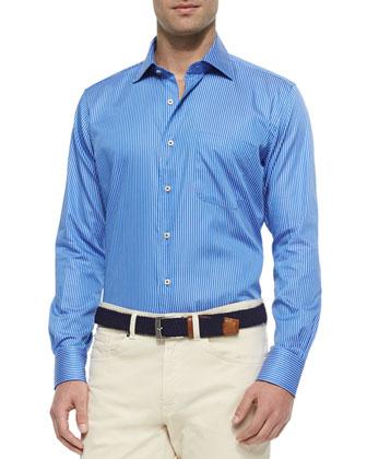 Striped Long-Sleeve Sport Shirt, Blue