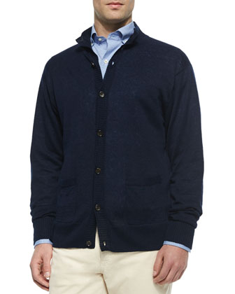 Linen Knit Button-Down Cardigan, Navy