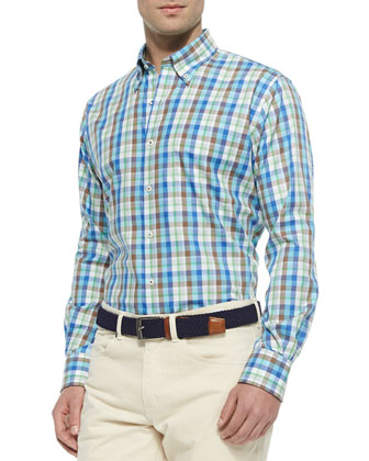 Plaid Long-Sleeve Woven Sport Shirt, Blue/Multi