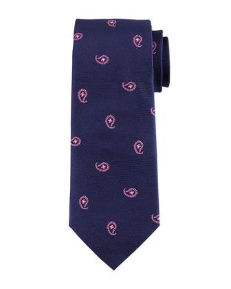 Teardrop-Floral Silk Tie, Navy