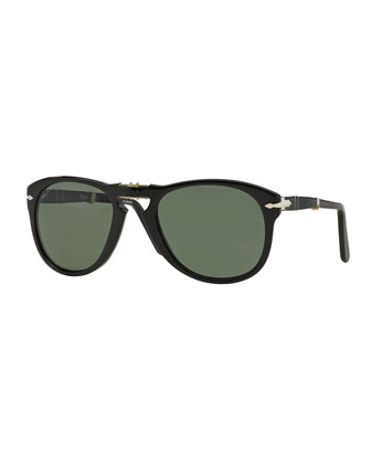 714-Series Foldable Acetate Sunglasses, Black