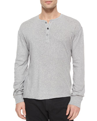 Button-Down Ribbed Henley Tee, Dark Gray