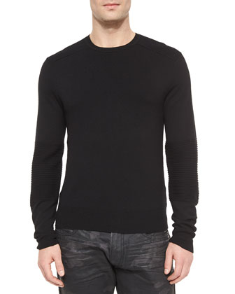 Ribbed Merino Wool Sweater, Black