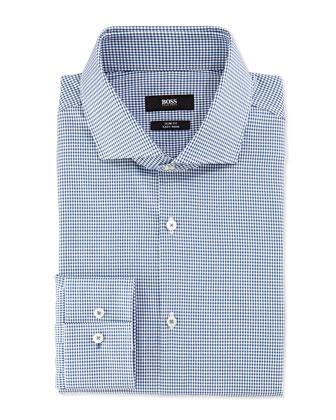 Slim Fit Easy Iron Mini-Check Dress Shirt, Teal/White