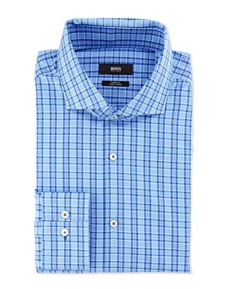Slim Fit Easy Iron Sport Shirt, Blue on Blue Plaid