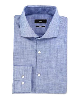 Slim-Fit End-On-End Sport Shirt, Blue