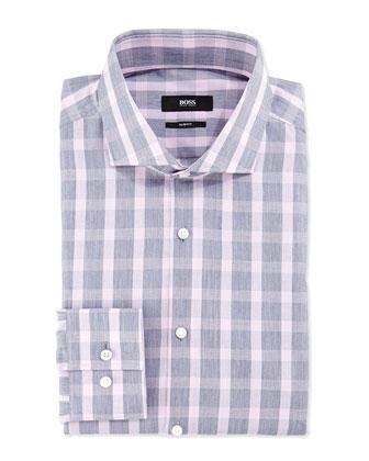 Slim-Fit Check Shirt, Gray/Pink