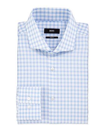 Slim-Fit Textured Check Shirt, White/Blue