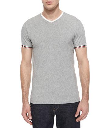Short-Sleeve Tipped V-Neck Shirt, Dark Gray