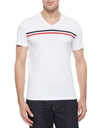 Horizontal-Stripe Graphic Tee, White