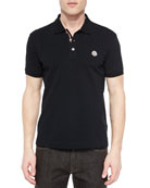 Short-Sleeve Striped Placket Polo Shirt, Black