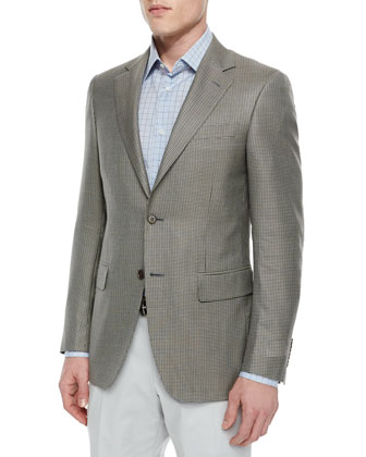 Houndstooth Print Two-Button Sport Coat, Tan/Black
