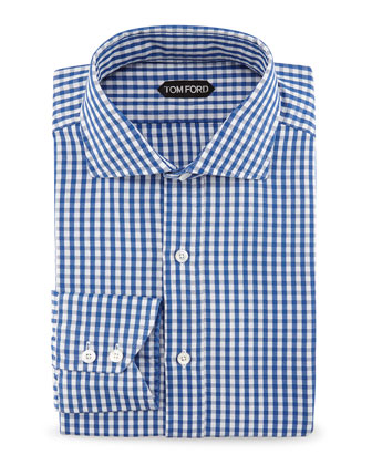 Gingham Button-Down Shirt, Bright Blue