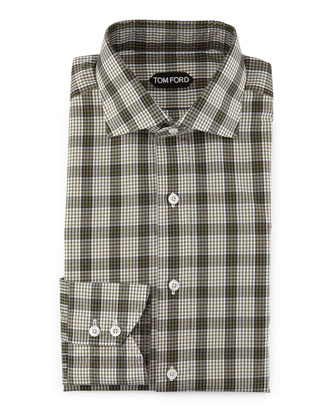 Plaid & Grid-Print Shirt, Olive/White
