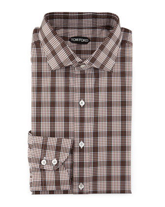 Plaid & Grid-Print Shirt, White/Brown