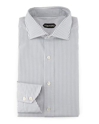 Striped Button-Down Dress Shirt, Gray/White