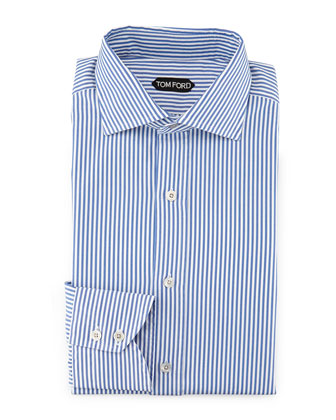 Striped Button-Down Shirt, Blue/White
