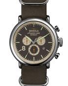 47mm Runwell Chrono Leather Watch, Gray