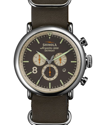 47mm Runwell Chrono Leather Watch, Gray