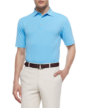 Solid Mesh Short-Sleeve Polo Shirt, Blue