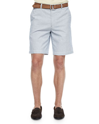 Striped Cotton-Linen Shorts, Blue