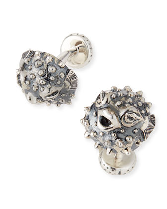 Pufferfish Silver Cuff Links