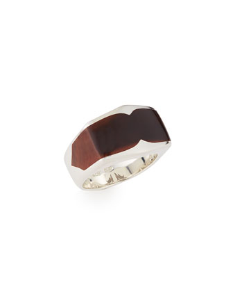 Sterling Wood Inlay Ring, Size 10