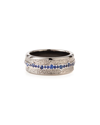 Men's Silver Sapphire Ring, Size 10
