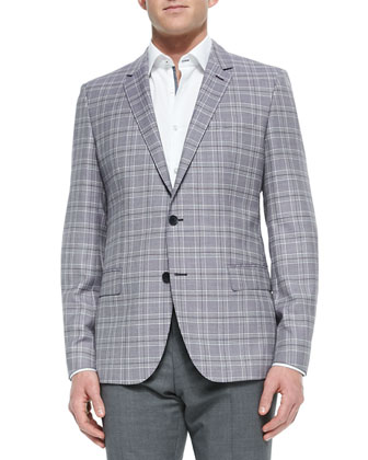 Plaid Two-Button Jacket, Purple