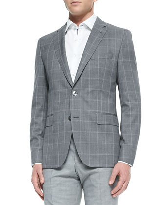 Windowpane Two-Button Suit Jacket, Contrast Oxford Dress Shirt & Wool ...