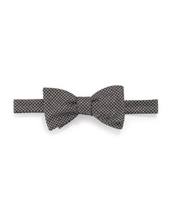 Glitter-Check Bow Tie, Black