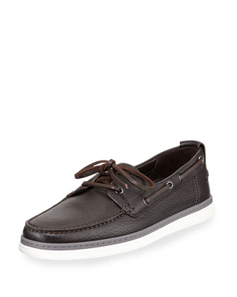Leather Boat Shoe, Dark Brown