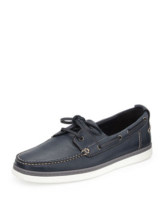 Men's Leather Boat Shoe, Blue