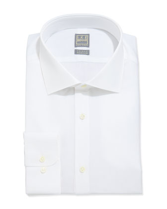 White-On-White Tonal Diagonal Stripe Dress Shirt, White